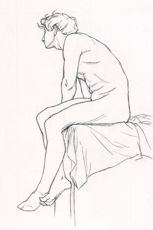 Michael A. Cooley, Seated Man Left Profile, 2011, Graphite.