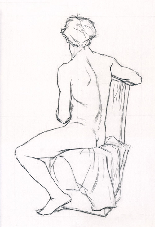 Michael A. Cooley, Seated Man Rear View, 2011, Graphite