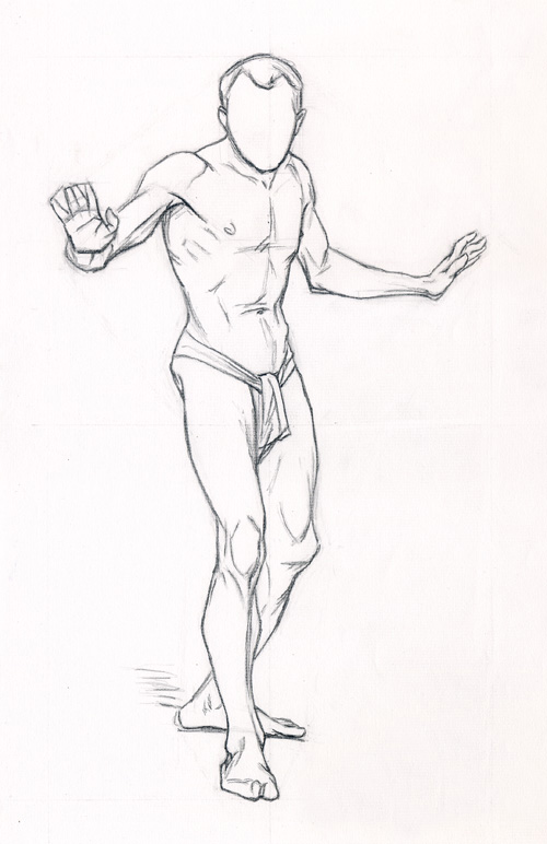 Michael A. Cooley, Standing Man Arms Spreading Out, 2011, Graphite.
