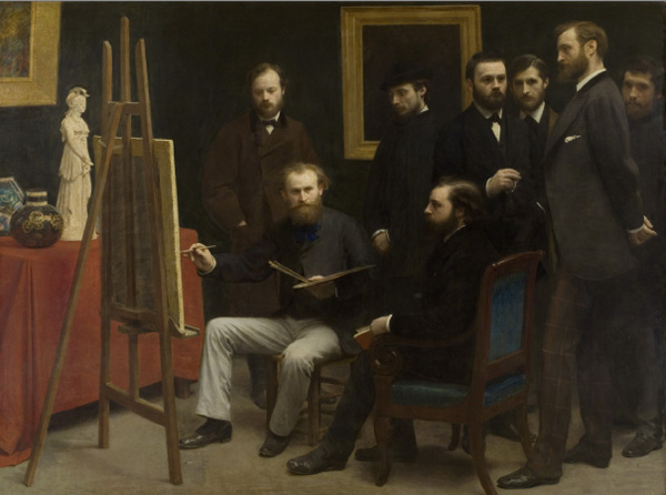 Henri Fantin- Latour, A Studio in Batignolles Quarter , 1870, oil on canvas, Musée d'Orsay, Paris, France