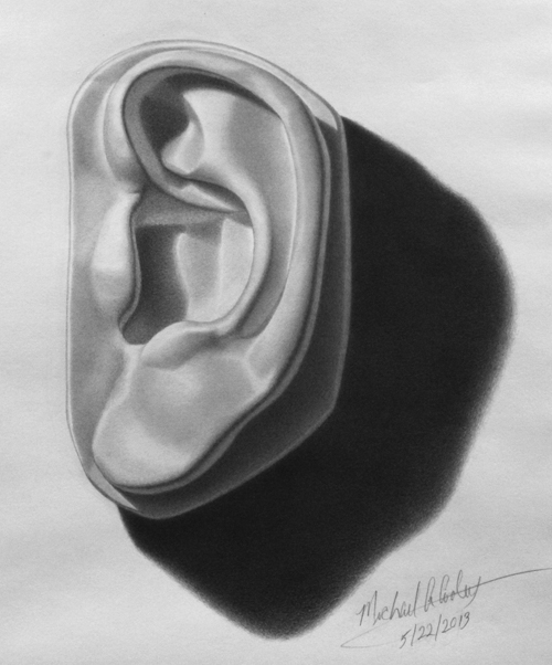 Michael a. Cooley, Michelangelo's Ear of David, 2013, Graphite.