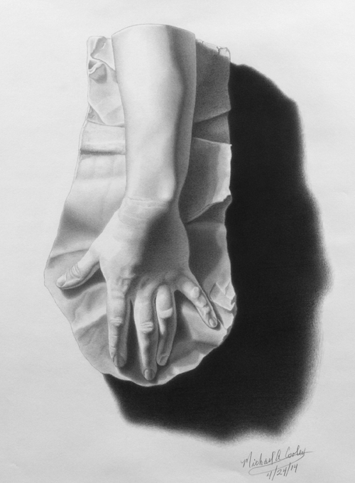 Michael A. Cooley, Female hand, 2014, Graphite. © M Cooley