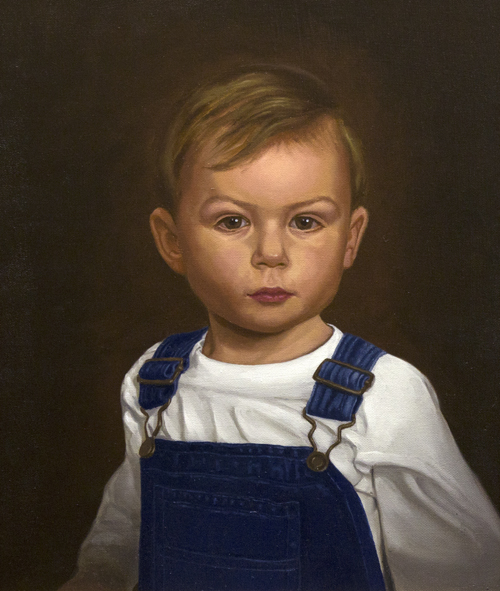 Michael A. Cooley, Boy in overalls, Portrait, 2015, Oil. This painting is for promotion and is presently part of my art exhibit at Blick Art Materials in Columbus, Ohio