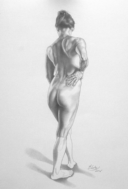Michael A. Cooley, Female Figure 3/4 Back View, Figure Study, 2015, Graphite. This is another figure study I made using graphite pencil. I just love drawing. I have been doing it since I was 5 years old. It is so important as a painter to have great drawing skills.