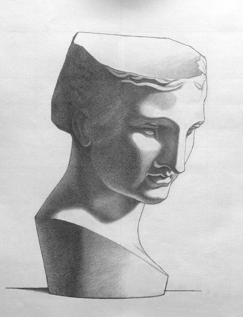 Michael A. Cooley, The Psyche of Naples, 2011, Graphite, Independent Study. The Psyche of Naples is a beautiful drawing made by Charles Bargue. Many students chose to copy this drawing. Though moderately complex, copying this drawing further builds upon the skills aquired from drawing The Foot of The Gladiator. This is my rendition.