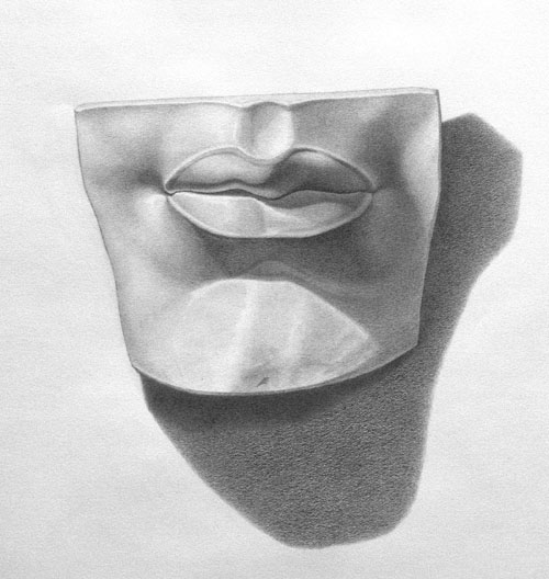Michael A. Cooley, Lips of Michelangelo's David, Graphite, 2012, Independent Study.