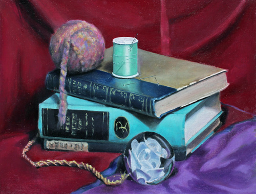Edi Watkins, Yarn and Books, 2015, Oil