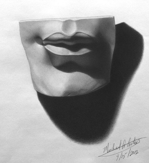 Michael A. Cooley, Michelangelo's Lips of David, 2012, Graphite. © M Cooley