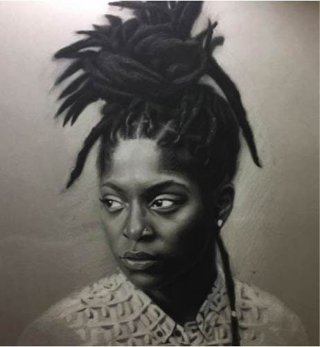 Cassidy Boyuk, Portrait, 2017, Charcoal and White Chalk
