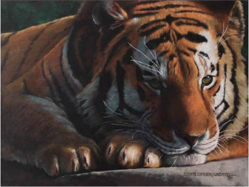Edi Wadkins, Tiger, 2017, Oil
